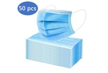 50 PACK FACE MASKS 3 PLY DISPOSABLE