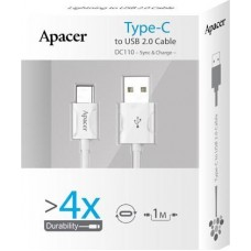 APACER 3FT Type-C to USB2.0 Type-A White DC110
