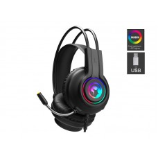 Marvo HG8935 USB Stereo LED Rainbow lighting 50mm driver gaming headset with Mic Phone_Black