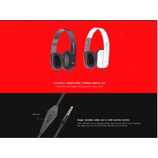 Ovleng X2 Stereo Hi-Fi Headphone Foldable 3.5mm Wired with Mic for Smartphone & PC_White